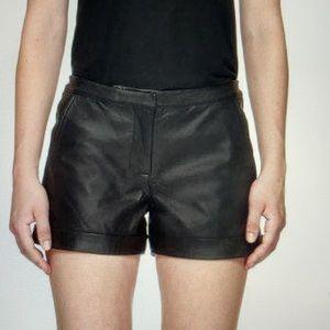 MACKAGE Kera Black Leather Shorts Size 4